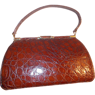 Beautiful vintage 1950's toffee colored crocodile handbag with Lucite clasp