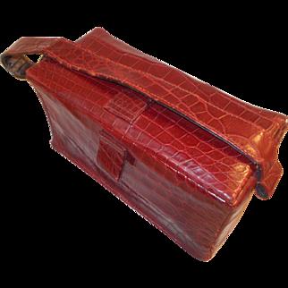 Super vintage early 1940's red Alligator box bag