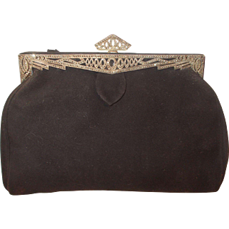Vintage 1920's Marcasite on silver black suede clutch bag