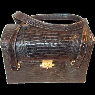 Fantastic vintage lizard skin 1950's Pallizio box bag handbag