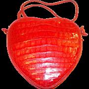 Vintage glossy red love heart crocodile skin shoulder bag