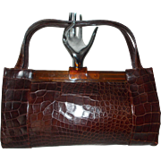 Huge vintage Raine 1940's crocodile skin and lucite huge handbag