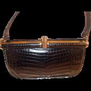 Beautiful Vintage black crocodile skin handbag by Peter Kent of London