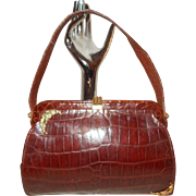 Vintage 1940's golden brown crocodile skin handbag