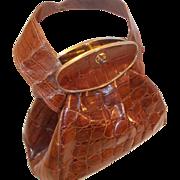 WOW! amazing very rare 1940's vintage crocodile skin handbag