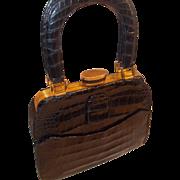 Rare Evans vintage black crocodile skin 1940's handbag