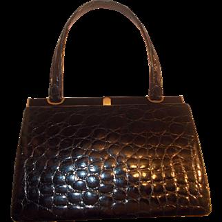 Superb vintage 1950's glossy black Riviera crocodile skin handbag