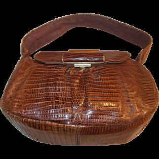 Large Vintage 1940's lizard skin handbag in beautiful condition