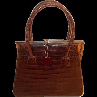 Rare book piece vintage crocodile skin handbag with a chrome frame sliding clasp