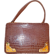 Vintage 1950's super sweet imitation crocodile leather box bag handbag