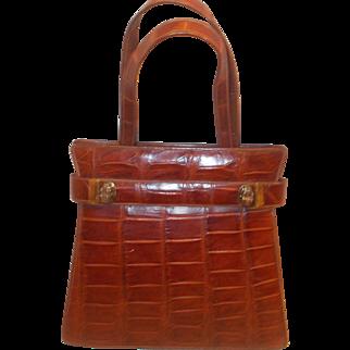 Fantastic 1930's vintage crocodile skin handbag super shape and condition