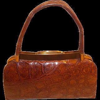 Stunning large vintage 1960's crocodile skin handbag with enamelled frame