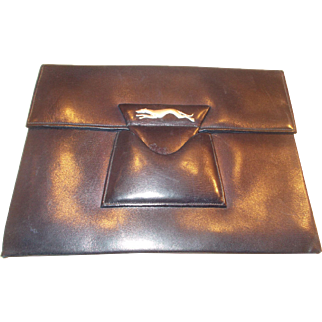 Fantastic art deco clutch bag in navy blue leather with chrome racing grayhound