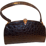 Beautiful vintage French 1950's glossy black crocodile skin handbag