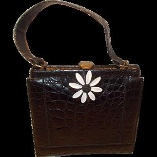 Vintage France 1960's black crocodile handbag amazing flower detail
