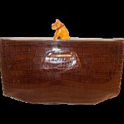 Art Deco 1930's crocodile clutch bag with amazing Bakelite dog clasp