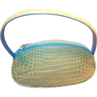 Vintage Green crocodile skin handbag