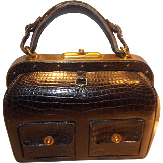 Vintage French 1940's juvinlle crocodile skin handbag marked depose