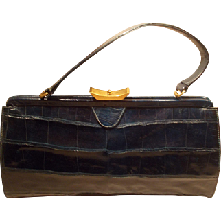 Vintage rare large blue crocodile skin 1940's handbag