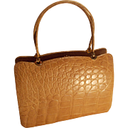 Stunning shape vintage 1950's Riviera blonde crocodile skin handbag never used