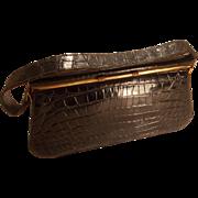 Vintage 1940's black crocodile skin oblong box bag