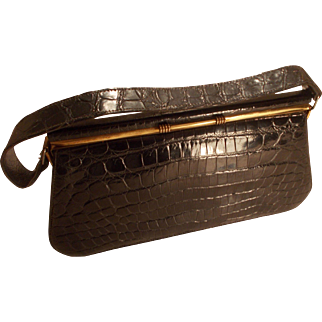 Vintage 1940's black crocodile skin oblong box bag