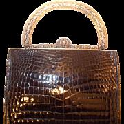 Vintage 1930's French black crocodile handbag with gilded silver marcasite frame