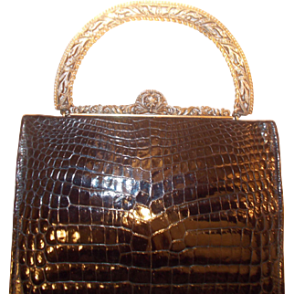 Vintage 1930's French black crocodile handbag with gilded silver marcasite frame