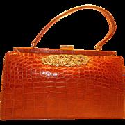 Large Vintage 1950's toffee coloured crocodile skin handbag super condition