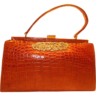 Large Vintage 1950's toffee coloured crocodile skin handbag super condition