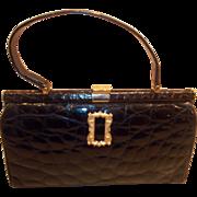 Vintage French 1950's crocodile skin handbag