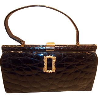 Vintage French 1950's crocodile skin handbag