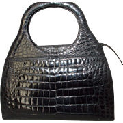 vintage huge 1970's black Kaiyo crocodile skin handbag