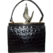 Beautiful vintage French high glossy black crocodile belly skin handbag