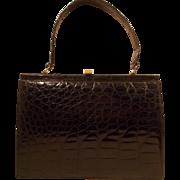 Large vintage 1950's French glossy black crocodile handbag never used