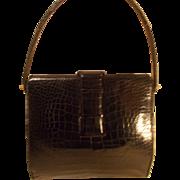 stunning Lucille de Paris vintage 1950's black alligator handbag
