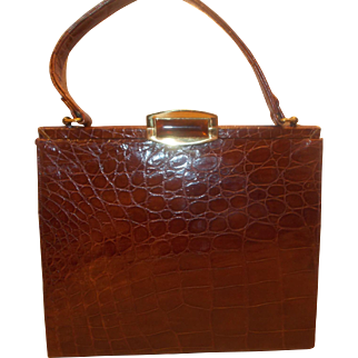 Huge vintage 1950's French crocodile skin handbag with Lucite clasp