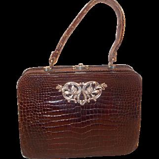 Early vintage art deco 1930's juvenile alligator skin handbag