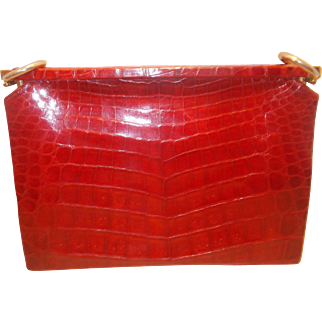 Amazing large vintage 1940's glossy bright red crocodile skin clutch bag