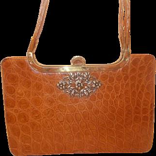 vintage French 1940's butterscotch coloured crocodile skin handbag