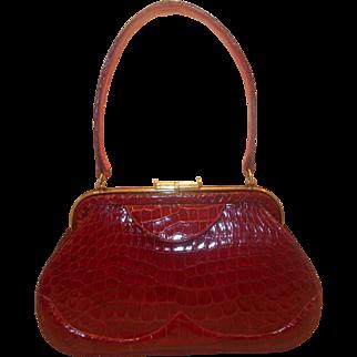 Super rare vintage French 1940's Saks of 5th ave red alligator skin handbag