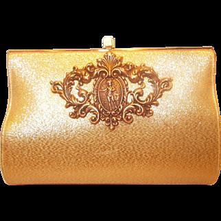 Beautiful vintage Nicolas Reich for Bonwit Teller gold silk clutch bag