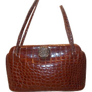 Beautiful large vintage 1940's French Delman crocodile skin handbag
