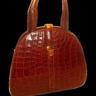 Vintage 1930's large crocodile skin handbag in unused condition