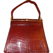 Rare vintage 1940s red alligator handbag Unikels made in mexico