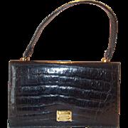 Stunning vintage 1950's glossy black crocodile handbag
