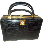 Very rare vintage 1960's Lederer alligator box bag with a watch attached to the front