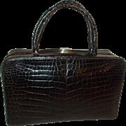 Fantastic vintage French large black alligator box bag