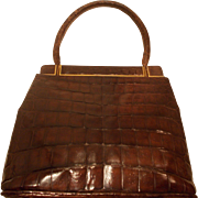 Super vintage 1940's Lopez alligator skin handbag