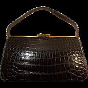 Vintage 1950's glossy black French crocodile skin handbag stunning condition